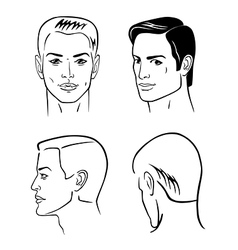 Four man outline faces vector