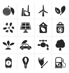 Black green environment and ecology icons vector
