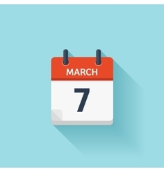 March 7 flat daily calendar icon date and vector