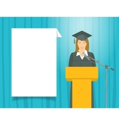 Graduation ceremony speech by a girl graduate at vector