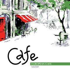 European cafe graphic drawing in color vector