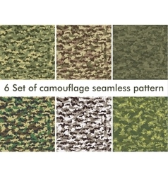 Seamless set of camouflage military pattern cloth vector