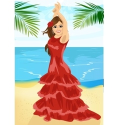 Young woman dancing flamenco on beach vector