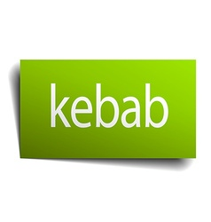 Kebab green paper sign isolated on white vector