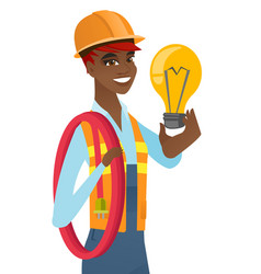 African-american electrician holding lightbulb vector