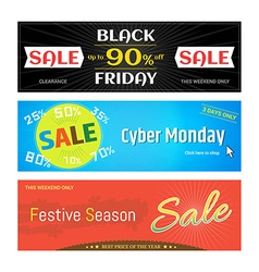 Banner label badge Black Friday Cyber Monday vector image
