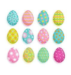 big set of colored eggs easter decoration element vector image