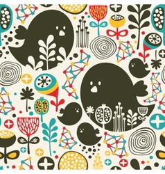 Birds flowers and geometric elements vector