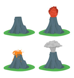 Cartoon color volcano erupting set vector