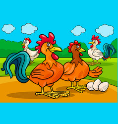 chicken characters group cartoon vector image vector image