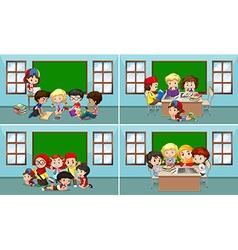 Children working in the classroom vector