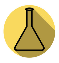 Conical flask sign flat black icon with vector