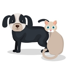 Cute dog with cat mascot icon vector