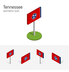 Flag of tennessee usa 3d isometric flat icons vector
