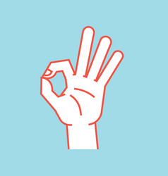 gesture okay sign stylized hand with index and vector image