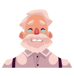 Grey haired old man face crying facial expression vector