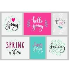 Hello spring typography set vector