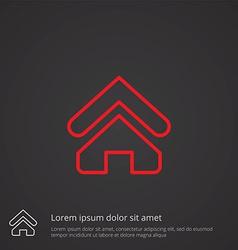 Home outline symbol red on dark background logo vector