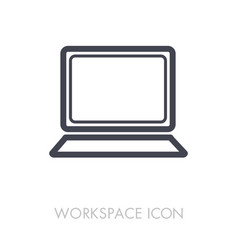 laptop outline icon workspace sign vector image