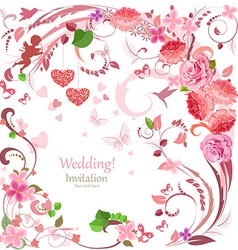 lovely invitation card with flowers and hearts for vector image vector image