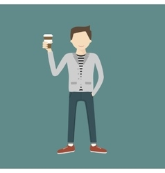 Man with coffee vector
