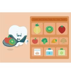 Menu foods and drinks for teeth vector