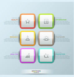 modern infographic design template 6 multicolored vector image vector image