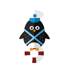Penguin sailor animal character vector