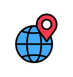 pin on globe flat icon vector image