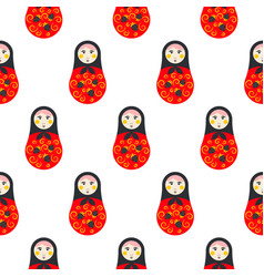 Russian doll matryoshka red seamless pattern vector