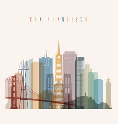 san francisco state california skyline vector image vector image