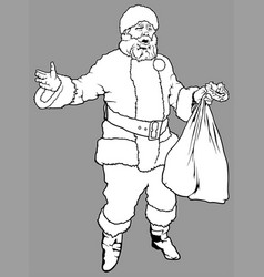 santa claus holding a sack vector image vector image