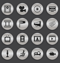 Set of 16 editable filming icons includes symbols vector