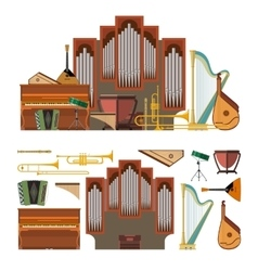 set of musical instruments in flat style vector image
