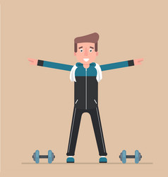 the man is engaged in charging physical exercise vector image vector image