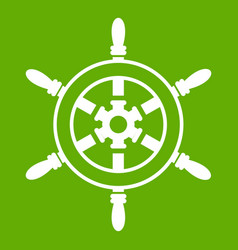 wheel of ship icon green vector image vector image