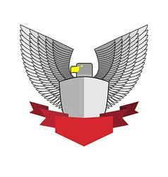 White Hawk with shield and red Ribbon Bird and vector image vector image