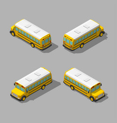 yellow isometric 3d school bus flat style vector image