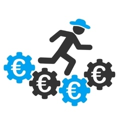 Euro gears runner flat icon vector