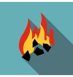 Burning black coal icon flat style vector