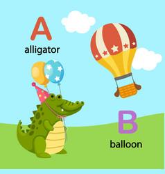 Isolated alphabet letter a-alligator b-balloon vector