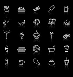 fast food line icons with reflect on black vector image