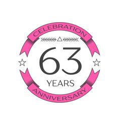 Sixty three years anniversary celebration logo vector
