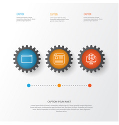 Internet icons set collection of website global vector