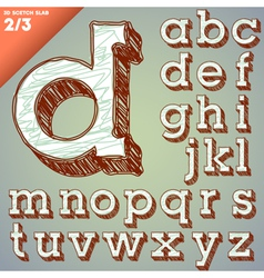 Sketch hand drawing alphabet vector