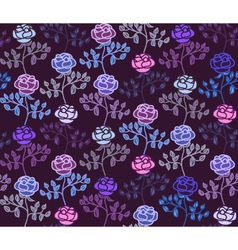Dark seamless pattern with cold hues colorful rose vector image