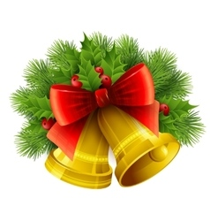 Christmas decoration with evergreen trees holly vector