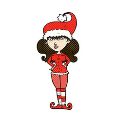 Comic cartoon santas helper woman vector