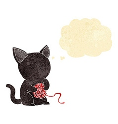Cartoon cute black cat playing with ball of yarn vector