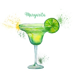 Watercolor margarita cocktail vector
